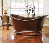 TERNURA MEDIUM in Cafe Viejo - BT004CV - Free Standing Slipper Copper Bathtub 60 x 29 x 30""