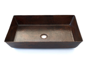 "TESTINO in Cafe Viejo - VS036CV - Rectangular Vessel Bathroom Copper Sink - 22 x 14 x 4.5"" - Thick Gauge 14"
