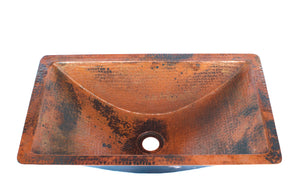 "Trough # 1  in Natural - BS017NA - Rectangular Undermount Bathroom Copper Sink with 1"" Flat Rim - 20 x 12 x 5.5"" - Gauge 16"