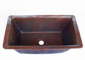 "Trough # 2  in Cafe Viejo - BS018CV - Rectangular Undermount Bathroom Copper Sink with 1"" Flat Rim and Angled Walls - 20 x 12 x 6"" - Gauge 16"