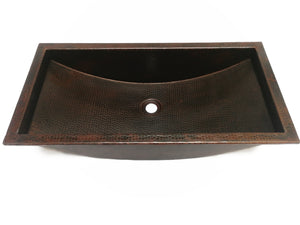 "HOCKNEY in Cafe Viejo - VS042CV26 - Trough Undermount or Drop-In  Bathroom Copper Sink with 1.0"" Flat Rim - 26 x 13 x 6"" -  Thick Gauge 14"
