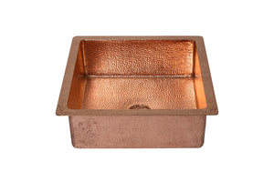 "SQUARE Undermount Bathroom Copper Sink in Polished Copper with 1"" Flat Rim - 15 x 15 x 6"" - VS050PC - Artesano Copper Sinks"