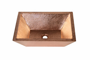 "RECTANGULAR Double Wall Vessel Bathroom Copper Sink in Polished Copper - 18 x 14 x 5.5"" - VS053PC"