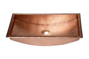 "RECTANGULAR  Undermount Bathroom Copper Sink in Polished Copper with 1"" Flat Rim - 26 x 13 x 6"" - VS054PC"