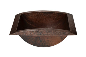 "WARHOL in Sanded Copper - VS020SC - Rectangular Raised Profile Bathroom Copper Sink with 2"" curved  Apron - 20 x 14 x 7"" - www.artesanocoppersinks.com"