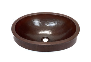 "ADAMS in Cafe Viejo - VS015CV - Oval Raised Profile Bathroom Copper Sink with 2.5"" Apron - 19 x 14 x 6"" - Gauge 16 - Artesano Copper Sinks"