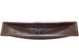 "BORDEAUX in Cafe Viejo - BP006CV - Trough Rectangular Undermount Bar Copper Sink with 1"" Flat Rim - 45 x 10 x 6.5"" - Gauge 16 - www.artesanocoppersinks.com"