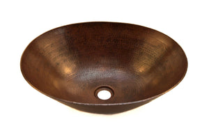 "BOTERO in Cafe Viejo - VS003CV - Oval Vessel Bathroom Copper Sink - 18 x 14 x 6"" - Thick Gauge 14"