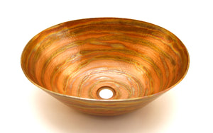 "BOTERO in Fuego - VS003FU - Oval Vessel Bathroom Copper Sink - 18 x 14 x 6"" - Thick Gauge 14 - www.artesanocoppersinks.com"