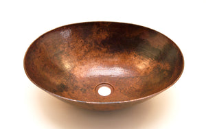 "BOTERO in Natural - VS003NA - Oval Vessel Bathroom Copper Sink - 18 x 14 x 6"" - Thick Gauge 14 - www.artesanocoppersinks.com"