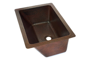 "BRAVO SMALL in Cafe Viejo - VS026CV - Rectangular Undermount Bathroom Copper Sink with angled wall - 16 x 12 x 7"" - Gauge 16 - www.artesanocoppersinks.com"