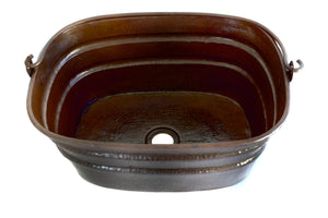 "BUCKET # 4 in Cafe Viejo - VS039CV - Rectangular Vessel Bathroom Copper Sink - 16 x 12 x 7"" - Gauge 16"