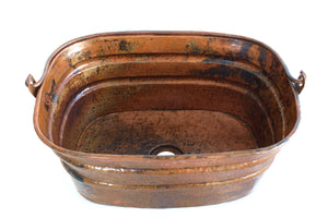 "BUCKET # 4 in Natural - VS039NA - Rectangular Vessel Bathroom Copper Sink - 16 x 12 x 7"" - Gauge 16"