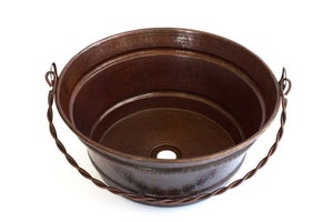 "BUCKET # 1 in Cafe Viejo - VS027CV - Round Vessel Bathroom Copper Sink - 16 x 8"" - Gauge 16 - Artesano Copper Sinks"