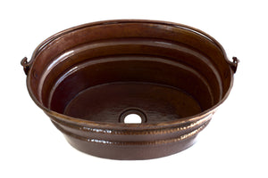 "BUCKET # 3 in Cafe Viejo - VS038CV - Oval Vessel Bathroom Copper Sink - 16 x 12 x 7"" - Gauge 16 - www.artesanocoppersinks.com"