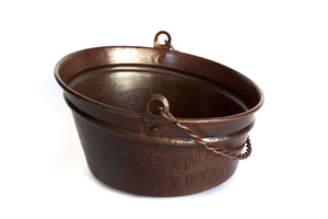 "BUCKET # 2 in Cafe Viejo - VS028CV - Round Vessel Bathroom Copper Sink - 16 x 8"" - Gauge 16 - Artesano Copper Sinks"