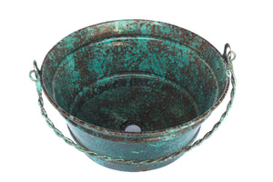 "BUCKET # 1 in Oxidized Copper  - VS027OC - Round Vessel Bathroom Copper Sink - 16 x 8"" - Gauge 16"