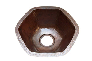 "CARNEROS in Cafe Viejo - BP004CV - Hexagonal Undermount Bar Copper Sink with 1"" Flat Rim - 16 x 7"" - Gauge 16 - www.artesanocoppersinks.com"