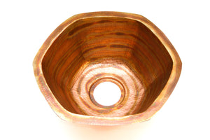 "CARNEROS in Fuego - BP004FU - Hexagonal Undermount Bar Copper Sink with 1"" Flat Rim - 16 x 7"" - Gauge 16 - www.artesanocoppersinks.com"