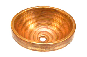 "CARTIER-BRESSON in Fuego - VS014FU - Round Raised Profile Bathroom Copper Sink with 2"" Apron - 17 x 6"" - Gauge 16"