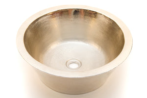 "CLAUDEL in Brushed Nickel - VS012BN -  Round Vessel Bathroom Copper Sink - 16 x 6"" - Double Wall - www.artesanocoppersinks.com"