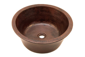 "CLAUDEL in Cafe Viejo - VS012CV - Round Vessel Bathroom Copper Sink - 16 x 6"" - Double Wall - Artesano Copper Sinks"