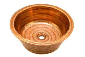 "CLAUDEL in Fuego - VS012FU - Round Vessel Bathroom Copper Sink - 16 x 6"" - Double Wall - www.artesanocoppersinks.com"