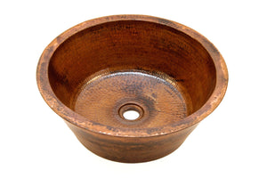 "CLAUDEL in Natural - VS012NA - Round Vessel Bathroom Copper Sink - 16 x 6"" - Double Wall - Artesano Copper Sinks"