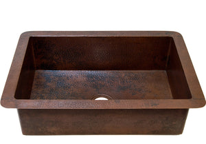 "Cocina Undermount Kitchen Copper Sink - Single Basin - 33 x 22 x 10.5"" - KS002CV - www.artesanocoppersinks.com"