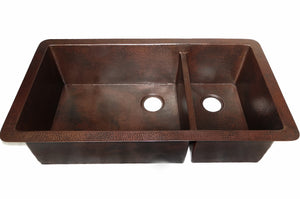 "Cocina Master Duo Undermount Kitchen Copper Sink - Double Basin - 40 x 22 x 10.5"" - KS011CV - www.artesanocoppersinks.com"