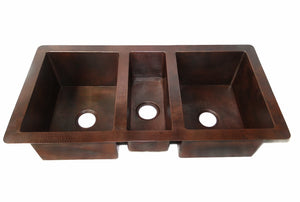 "Cocina Master Trio Undermount Kitchen Copper Sink - Triple Basin - 44 x 22 x 10.5"" - KS012CV - Artesano Copper Sinks"