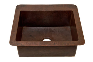 "Cocinita Undermount Kitchen Copper Sink - Single Basin - 25 x 22 x 9.5"" - KS004CV - Artesano Copper Sinks"