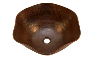 "DALI in Cafe Viejo - VS005CV - Rippled Vessel Bathroom Copper Sink - 16 x 6.5"" - Thick Gauge 14"