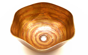 "DALI in Fuego - VS005FU - Rippled Vessel Bathroom Copper Sink - 16 x 6.5"" - Thick Gauge 14"