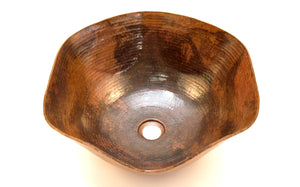 "DALI in Natural - VS005NA - Rippled Vessel Bathroom Copper Sink - 16 x 6.5"" - Thick Gauge 14"
