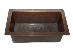 "DANIELSON in Cafe Viejo - VS030CV - Rectangular Undermount Bathroom Copper Sink with 1.5"" Flat Rim - 23 x 13 x 8"" - Gauge 16"