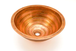 "DA VINCI in Fuego - VS009FU - Round Vessel Bathroom Copper Sink - 17 x 7"" - Double Wall - Artesano Copper Sinks"