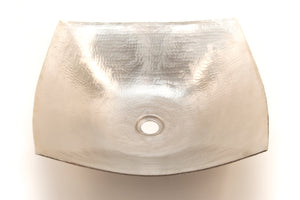 "DEGAS in Brushed Nickel - VS007BN - Square Vessel Bathroom Copper Sink - 8 x 18 x 5.5"" - Thick Gauge 14"