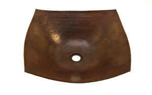 "DEGAS In Cafe Viejo - VS007CV - Square Vessel Bathroom Copper Sink - 18 x 18 x 5.5"" - Thick Gauge 14"