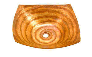 "DEGAS in Fuego - VS007FU - Square Vessel Bathroom Copper Sink - 18 x 18 x 5.5"" - Thick Gauge 14 - Artesano Copper Sinks"