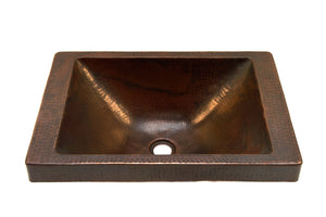 "DOISNEAU in Cafe Viejo - VS013CV - Rectangular Raised Profile Bathroom Copper Sink with 2"" Apron - 20 x 14 x 6"" - Gauge 16 - Artesano Copper"