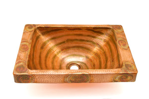 "DOISNEAU in Fuego - VS013FU - Rectangular Raised Profile Bathroom Copper Sink with 2"" Apron - 20 x 14 x 6"" - Gauge 16 - www.artesanocoppersinks.com"