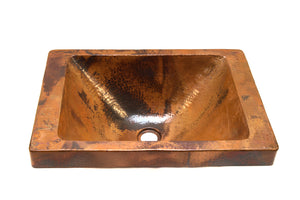 "DOISNEAU in Natural - VS013NA - Rectangular Raised Profile Bathroom Copper Sink with 2"" Apron - 20 x 14 x 6"" - Gauge 16 - www.artesanocoppersinks.com"