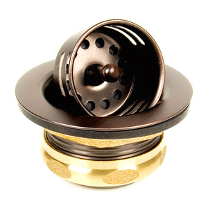 "Bar Drain - Jr. Basket Strainer with stopper 2"" in Victorian Bronze - DRDV601VB - www.artesanocoppersinks.com"