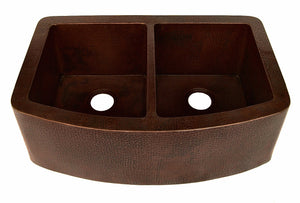 "Farmhouse 50/50 with Curved Apron Kitchen Copper Sink - Double Basin - 33 x 22 x 10.5"" - KS009CV"