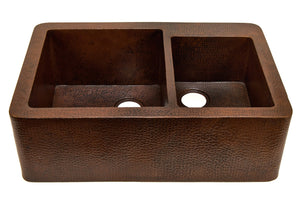 "Farmhouse 60/40 with Straight Apron Kitchen Copper Sink - Double Basin - 33 x 22 x 10.5"" - KS005CV - www.artesanocoppersinks.com"