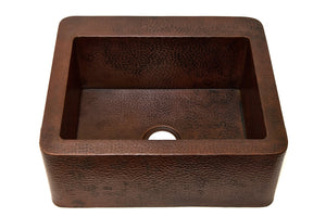 "Farmhouse Chico with Straight Apron Kitchen Copper Sink - Single Basin - 25 x 22 x 9.5"" - KS003CV - www.artesanocoppersinks.com"