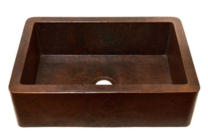 "Farmhouse with Straight Apron Kitchen Copper Sink - Single Basin - 33 x 22 x 10.5"" - KS001CV"