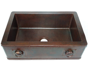 "Farmhouse with Straight Apron Kitchen Copper Sink with Rings - Single Basin - 33 x 22 x 10.5"" - KS010CV - www.artesanocoppersinks.com"