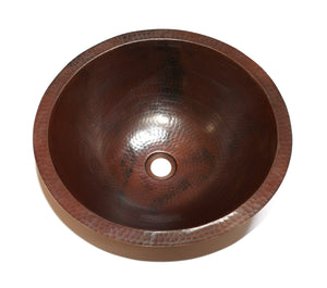 "ROUND with Flat Rim in Cafe Viejo - BS001CV - Undermount Bath Copper Sink - 17 x 6"" - Artesano Copper Sinks"